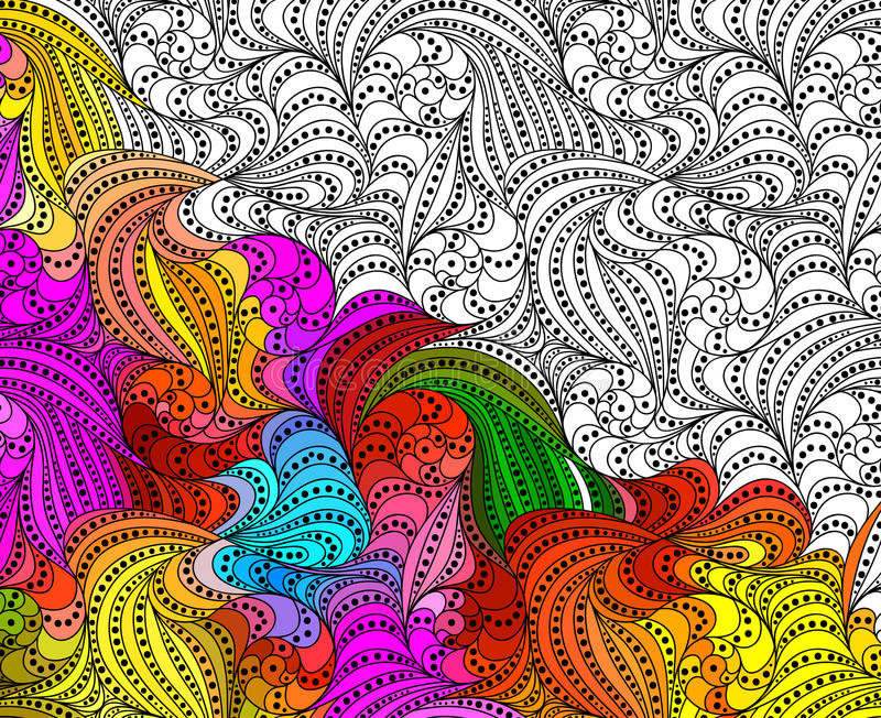De vector abstracte naadloze getrokken ornamenten van het fantasiepatroon hand stock illustratie