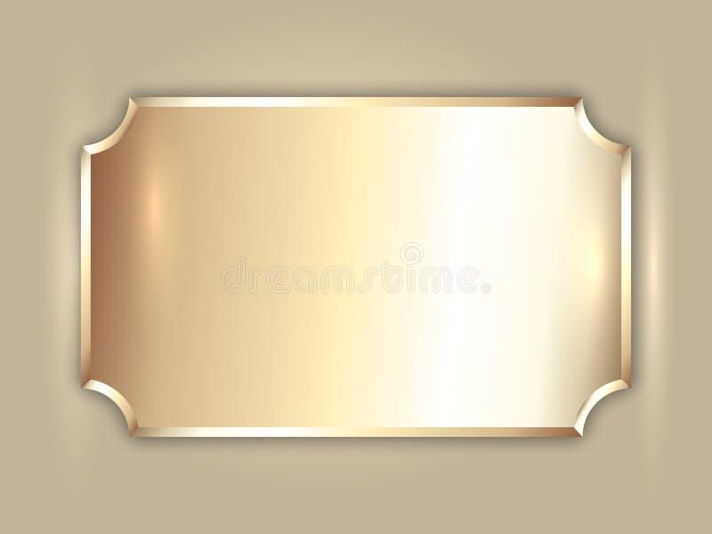 De vector abstracte plaat van de edel metaal gouden toekenning royalty-vrije illustratie