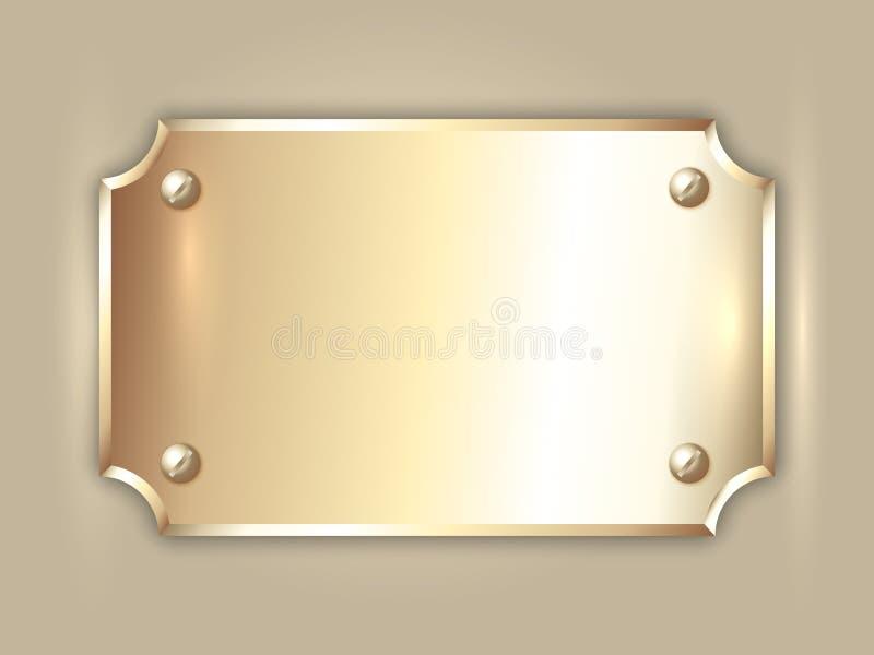 De vector abstracte plaat van de edel metaal gouden toekenning stock illustratie
