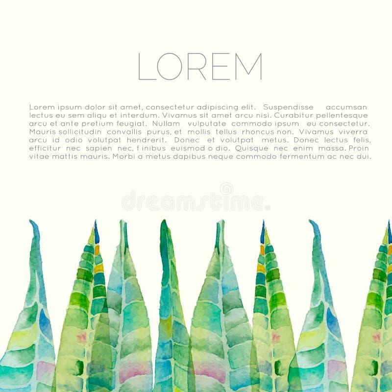 De vector abstracte waterverfachtergrond met oleander gaat weg en bloeit stock fotografie