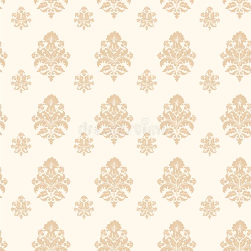 De vector achtergrond van het damast naadloze patroon stock illustratie