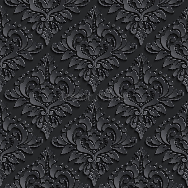 De vector achtergrond van het damast naadloze patroon Elegant