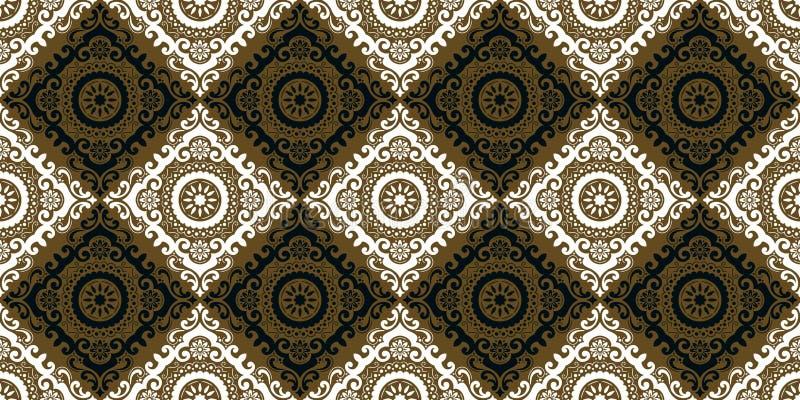De vector achtergrond van het damast naadloze patroon De elegante luxetextuur voor behang, de achtergronden en de pagina vullen H stock illustratie