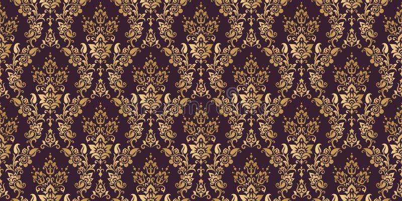 De vector achtergrond van het damast naadloze patroon De elegante luxetextuur voor behang, de achtergronden en de pagina vullen b royalty-vrije illustratie