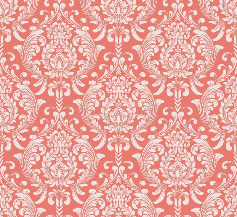 De vector achtergrond van het damast naadloze patroon Het klassieke ornament van het luxe ouderwetse damast, koninklijke victoria stock illustratie