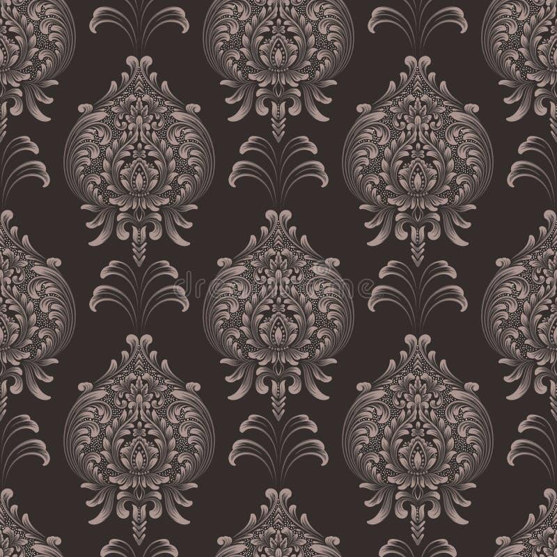 De vector achtergrond van het damast naadloze patroon Het klassieke ornament van het luxe ouderwetse damast, koninklijke victoria royalty-vrije illustratie