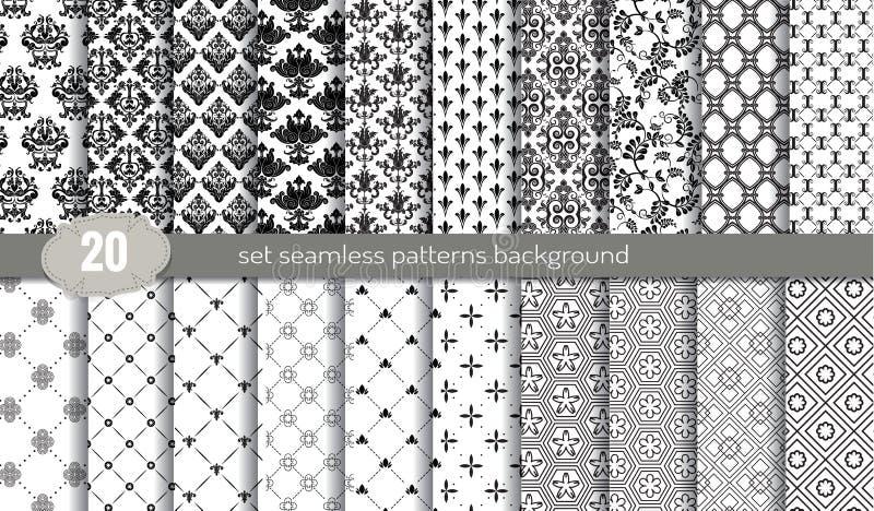 De vector achtergrond van het damast naadloze patroon patroonmonsters inbegrepen voor illustratorgebruiker vector illustratie