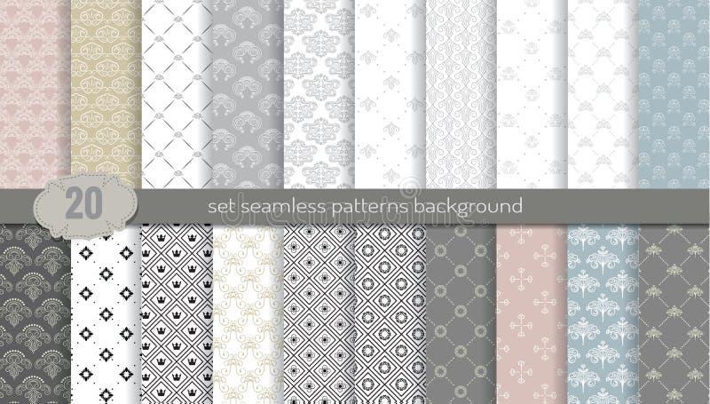 De vector achtergrond van het damast naadloze patroon patroonmonsters inbegrepen voor illustratorgebruiker, patroonmonsters inbeg stock illustratie