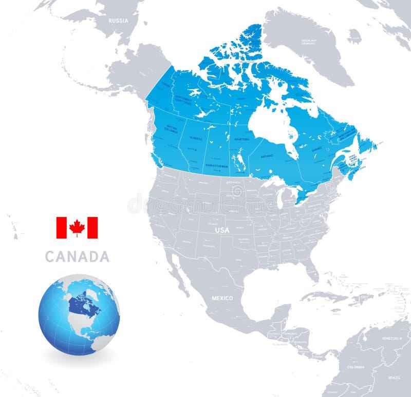 De vector Administratieve Blauwe Kaart van Canada stock illustratie