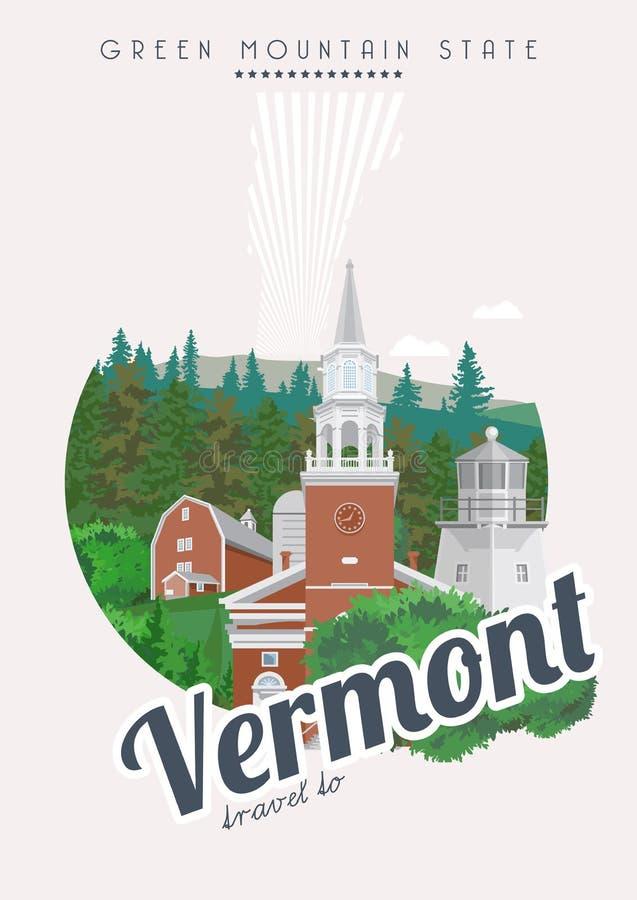De vector Amerikaanse affiche van Vermont De reisillustratie van de V.S. De kaart van de Verenigde Staten van Amerika De vlucht v vector illustratie