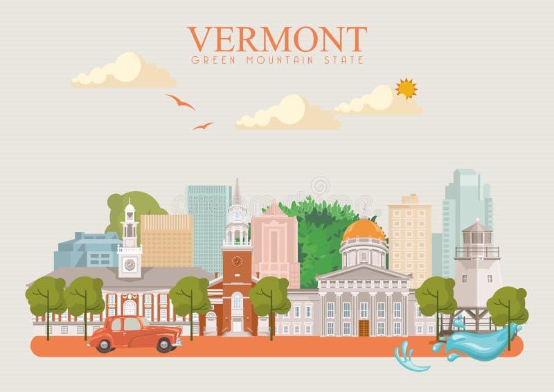 De vector Amerikaanse affiche van Vermont De reisillustratie van de V.S. De kaart van de Verenigde Staten van Amerika met gebouwe royalty-vrije illustratie