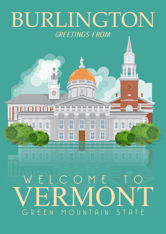 De vector Amerikaanse affiche van Vermont De reisillustratie van de V.S. De kaart van de Verenigde Staten van Amerika Stad stock illustratie