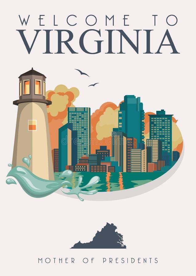 De vector Amerikaanse affiche van Virginia Hier hebben wij Virginia Onthaal aan Virginia royalty-vrije illustratie