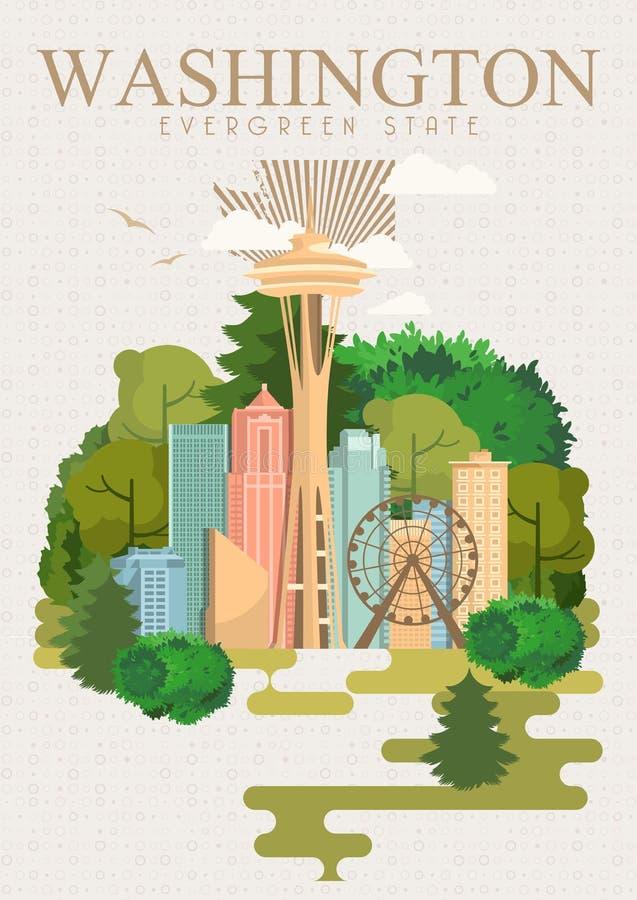 De vector Amerikaanse affiche van Washington De reisillustratie van de V.S. De kaart van de Verenigde Staten van Amerika Uitsteke royalty-vrije illustratie