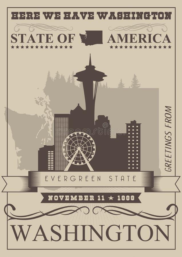 De vector Amerikaanse affiche van Washington De reisillustratie van de V.S. De kaart van de Verenigde Staten van Amerika met meer vector illustratie