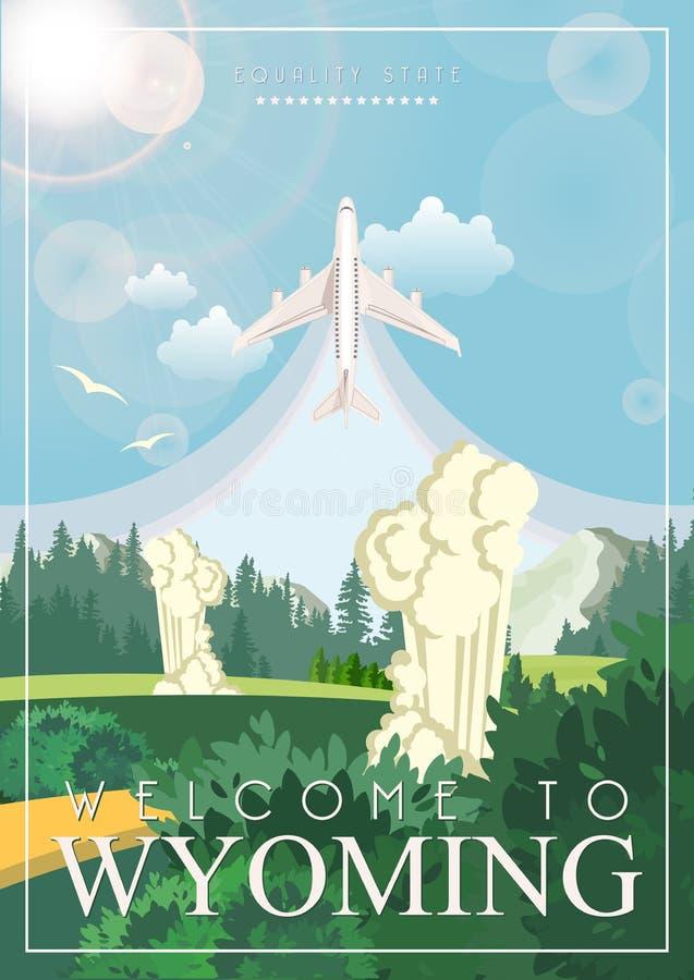 De vector Amerikaanse affiche van Wyoming met vliegtuig De reisillustratie van de V.S. Kleurrijke de groetkaart van de Verenigde  vector illustratie