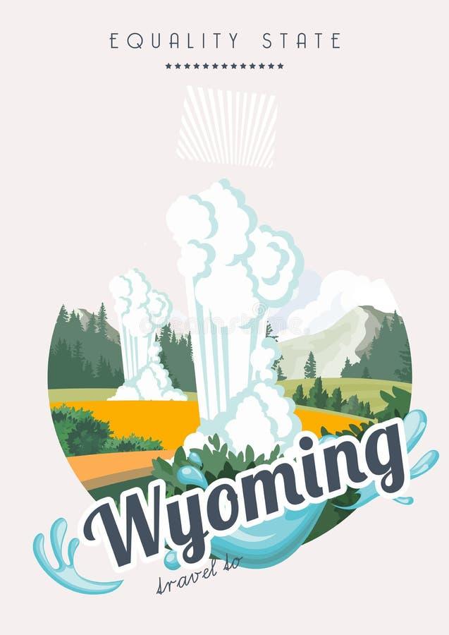 De vector Amerikaanse affiche van Wyoming in retro stijl cheyenne De reisillustratie van de V.S. Kleurrijke de groetkaart van de  vector illustratie