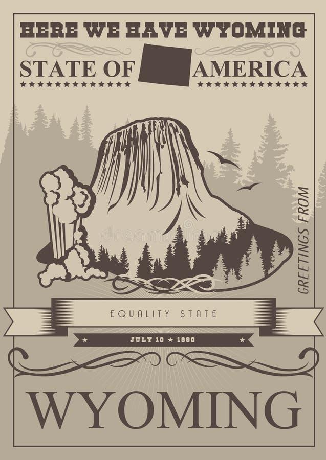 De vector Amerikaanse affiche van Wyoming in retro stijl De reisillustratie van de V.S. Kleurrijke de groetkaart van de Verenigde stock illustratie