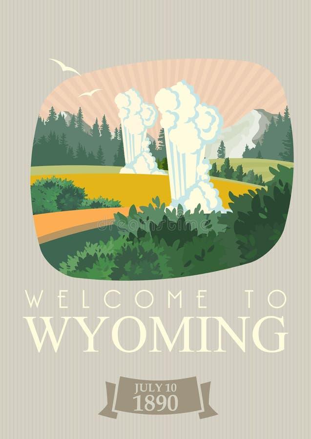 De vector Amerikaanse affiche van Wyoming Uitstekende stijl cheyenne De reisillustratie van de V.S. Kleurrijke de groetkaart van  stock illustratie