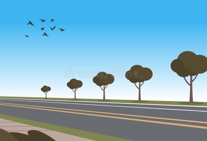 De vector automobiele weg van het Illustratiebeeldverhaal vector illustratie