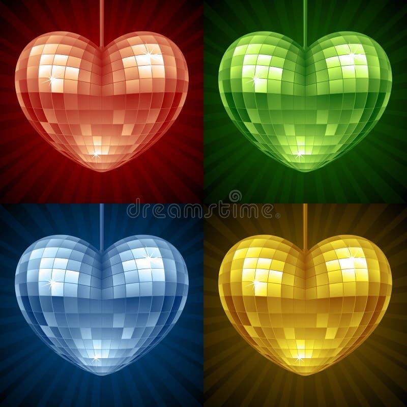 De vector bal van de Disco in de vorm van hart royalty-vrije illustratie