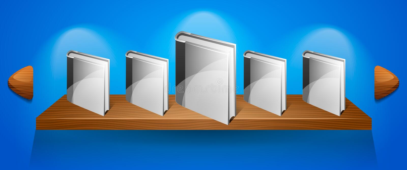 De vector banner van het Boekenrek met boeken. Web vector illustratie