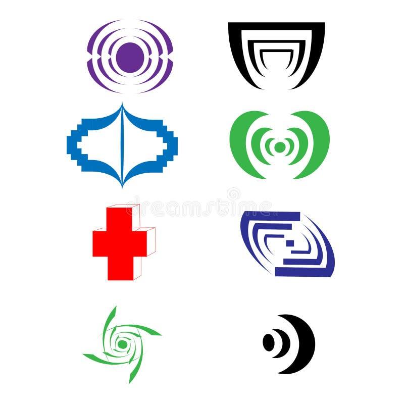 De vector bedrijfs en technologie logotype geplaatste pictogrammen, vatten collectieve emblemen samen vector illustratie