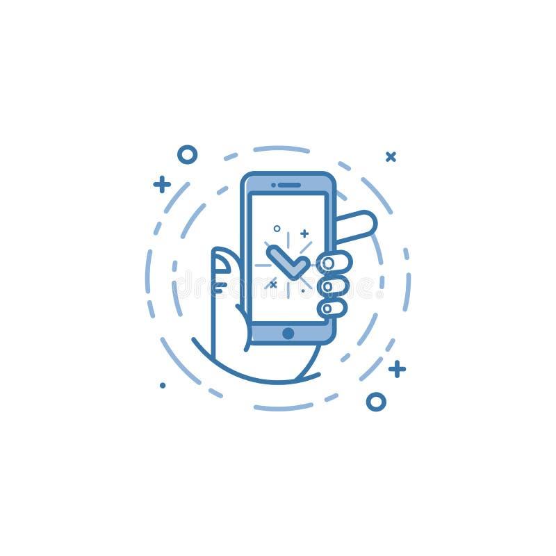 De vector bedrijfsillustratie van blauwe kleuren overhandigt en pictogram mobiele telefoon in lijnstijl stock illustratie
