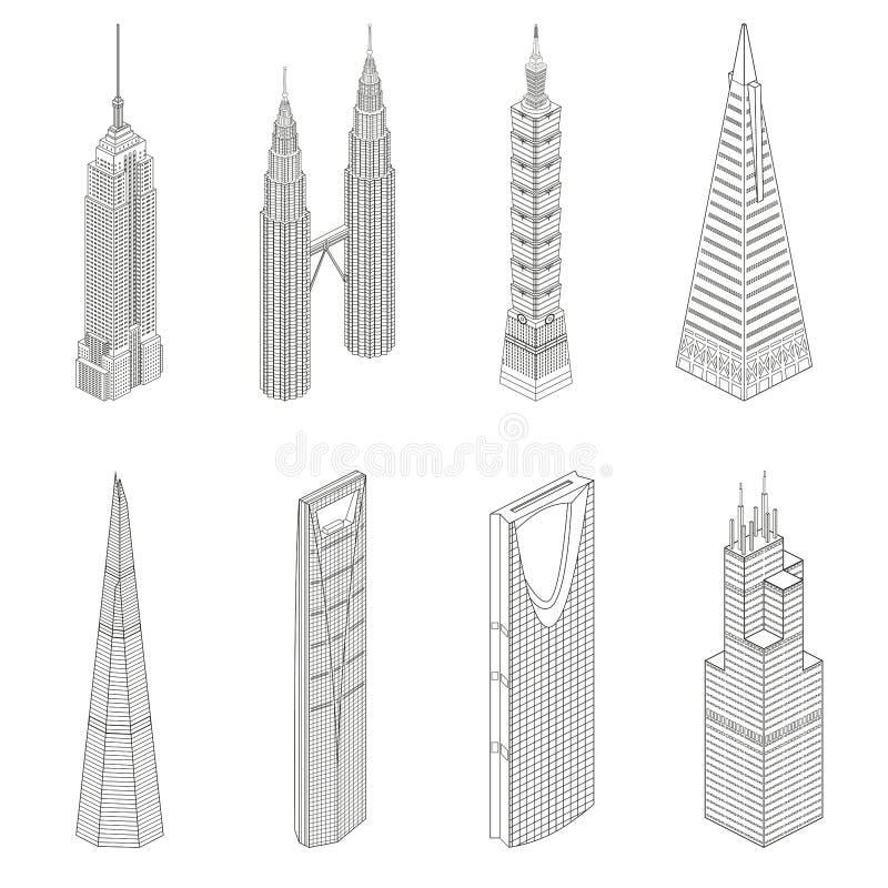 De vector beroemde pictogrammen van de de lijnkunst van wereldwolkenkrabbers isometrische stock illustratie