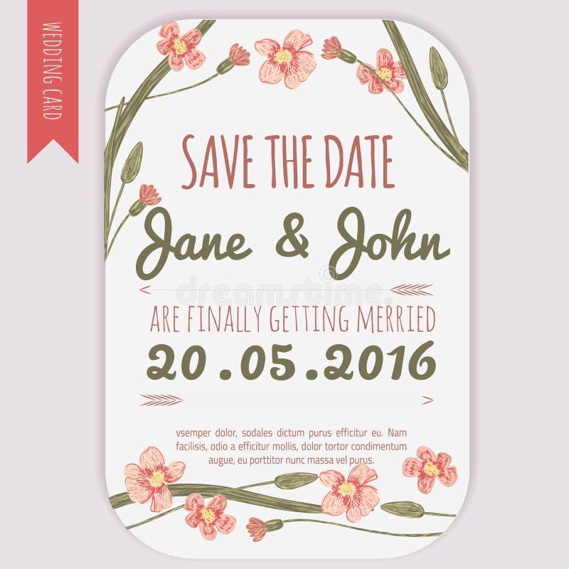De vector bewaart de datumkaart met hand getrokken uitstekende madeliefjebloemen in rustieke stijl vector illustratie