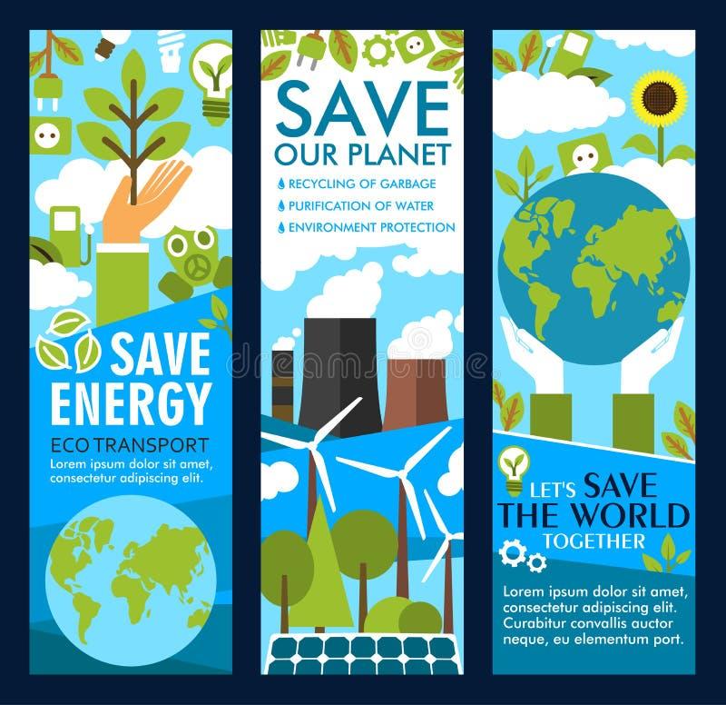 De vector bewaart energie of eco de banners van de planeetlevensstijl royalty-vrije illustratie