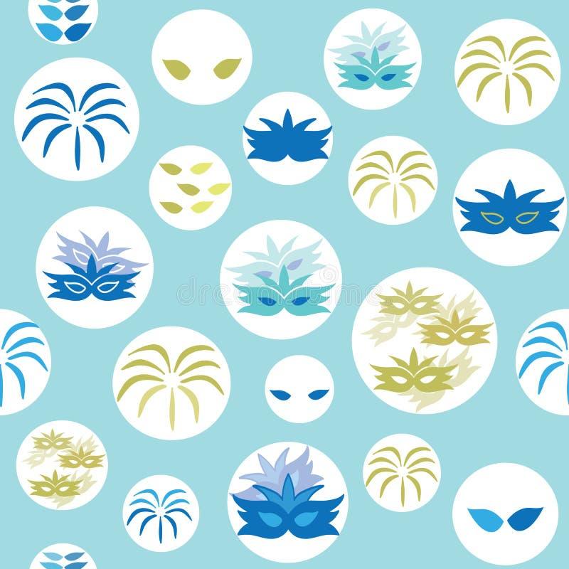 De vector blauwe Carnaval-elementen omcirkelt naadloze patroonachtergrond vector illustratie