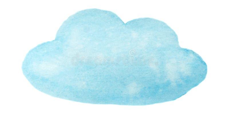 De vector blauwe die wolk van de waterverfverf op wit voor Uw ontwerp wordt geïsoleerd stock fotografie