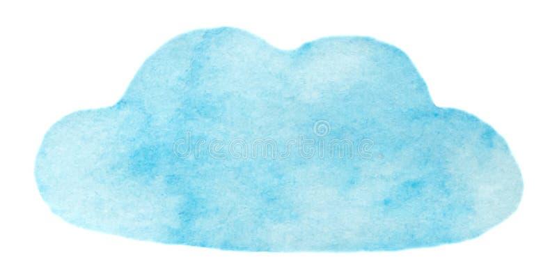 De vector blauwe die wolk van de waterverfverf op wit voor Uw ontwerp wordt geïsoleerd stock foto's