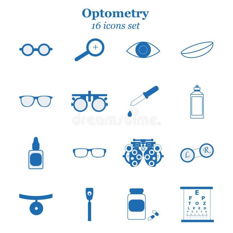 De vector blauwe reeks van het optometriepictogram Opticien, oftalmologie, visiecorrectie, oogtest, oogzorg, kenmerkend oog royalty-vrije illustratie