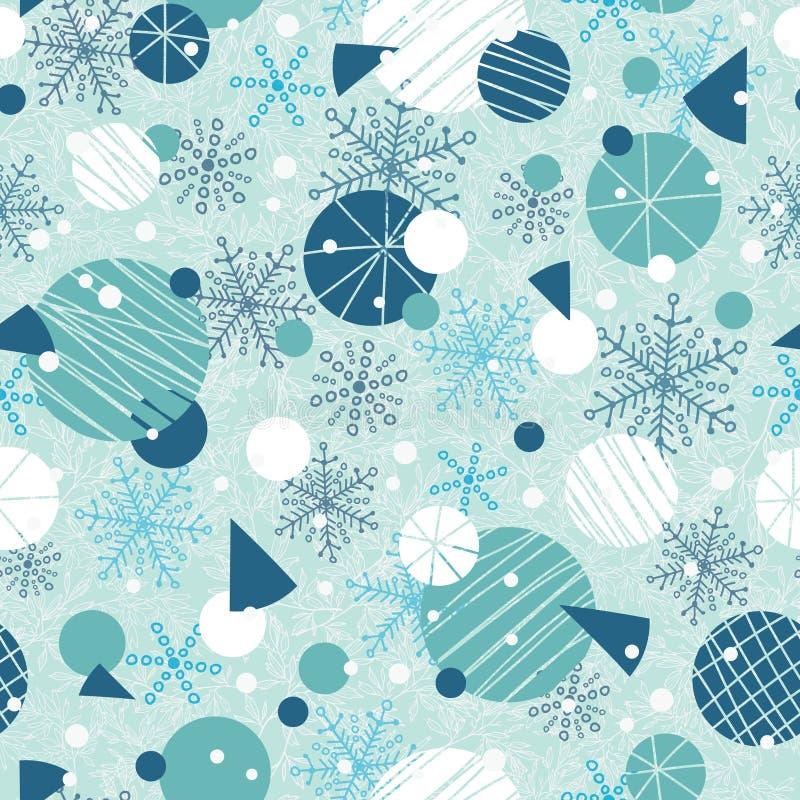 De vector blauwe, witte abstracte naadloze ornamenten van de de wintervakantie en de sterren herhalen patroonachtergrond Groot vo royalty-vrije illustratie