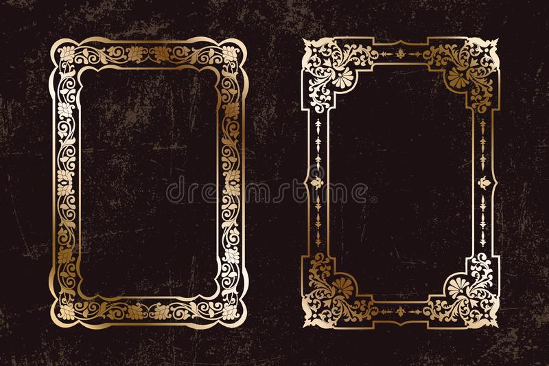 De vector Bloemen Uitstekende reeks kaders, model voor de boekdekking ontwerpt, oude pagina's, fotogrenzen, uitnodigingen, certif stock illustratie