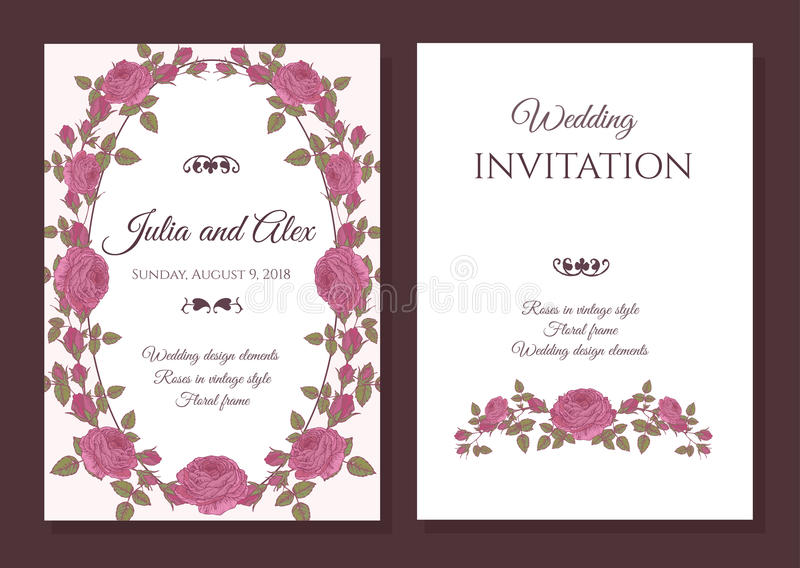 De vector bloemenkaart van de huwelijksuitnodiging met kader van roze rozen royalty-vrije illustratie