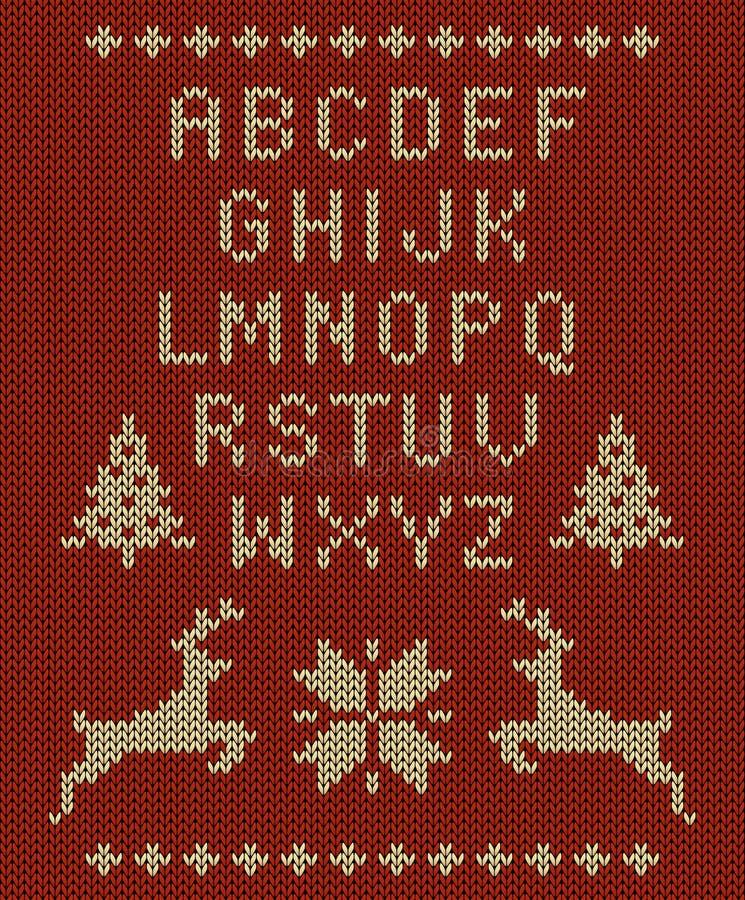 De vector breide brievenreeks, rendier, sneeuwvlokken en Kerstbomen op gebreide rode achtergrond royalty-vrije illustratie