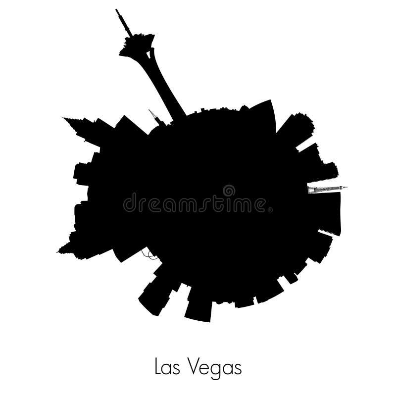 De vector cirkelhorizon van Las Vegas stock illustratie