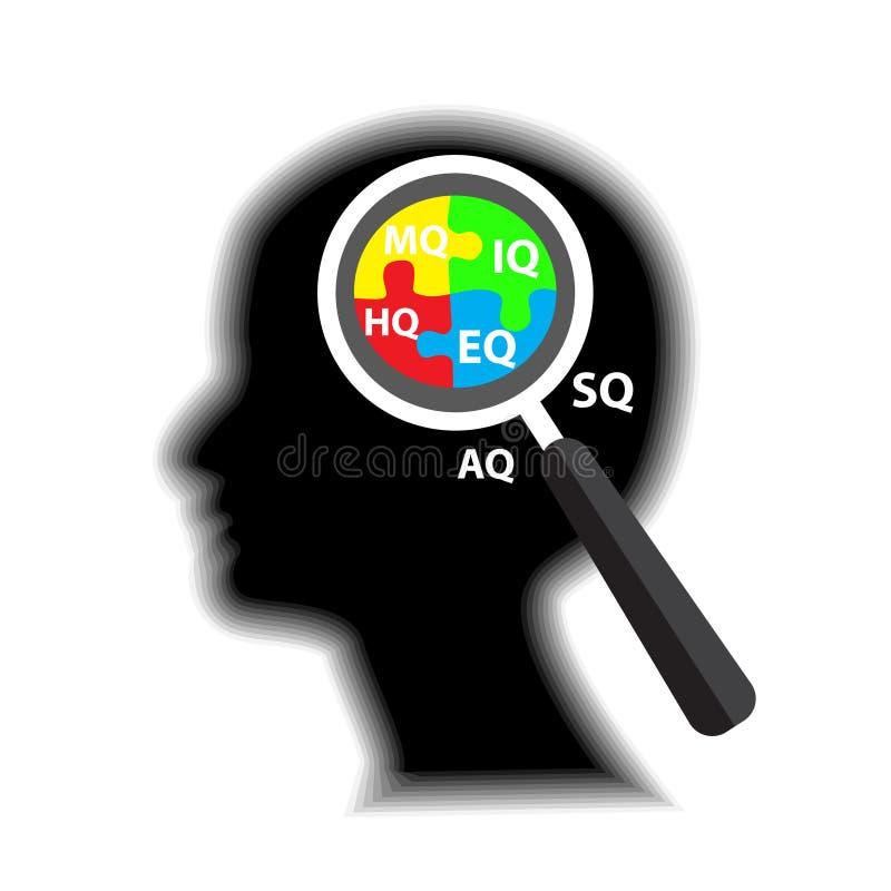 De vector creatieve mens van het profielontwerp denkt stock illustratie
