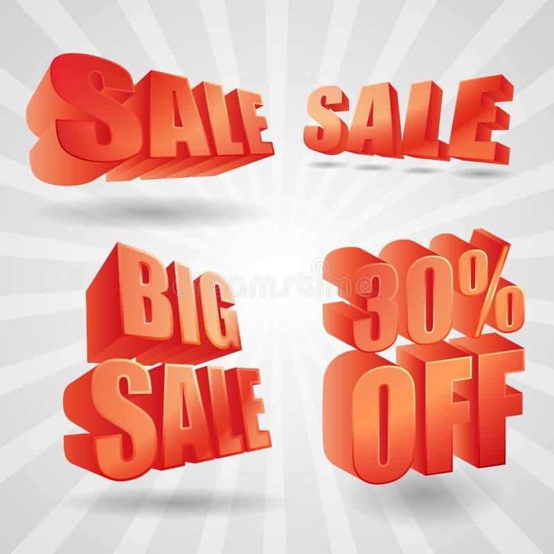 De vector 3d elementen van het verkoopontwerp stock fotografie