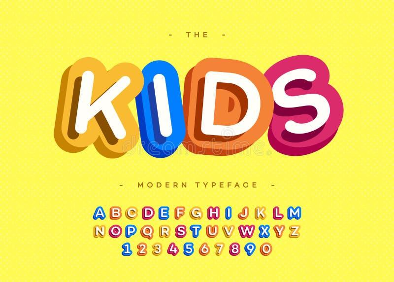 De vector 3d gewaagde typografie van de jonge geitjeslettersoort zonder serif stijl royalty-vrije illustratie