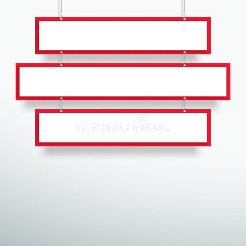 De vector 3d Lege Rode 3 Banners die van de Lijntitel Ontwerp hangen royalty-vrije illustratie