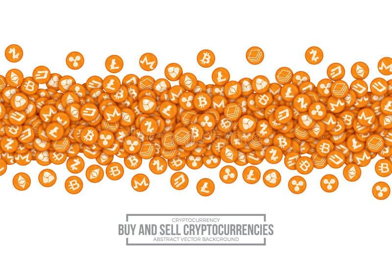 De vector 3D Pictogrammen van Cryptocurrency Bitcoin vector illustratie