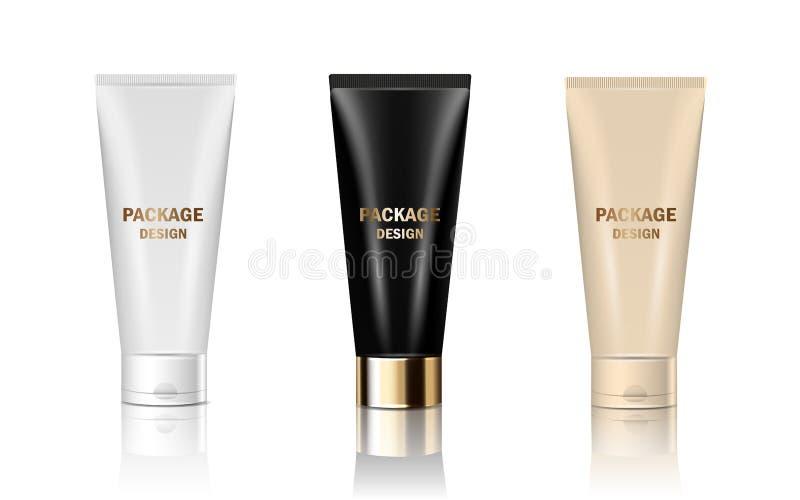De vector 3d reeks isoleerde buizen van de model de glanzende realistische kruik inpakkend room, shampoo, schoonheidsmiddelenprod stock illustratie