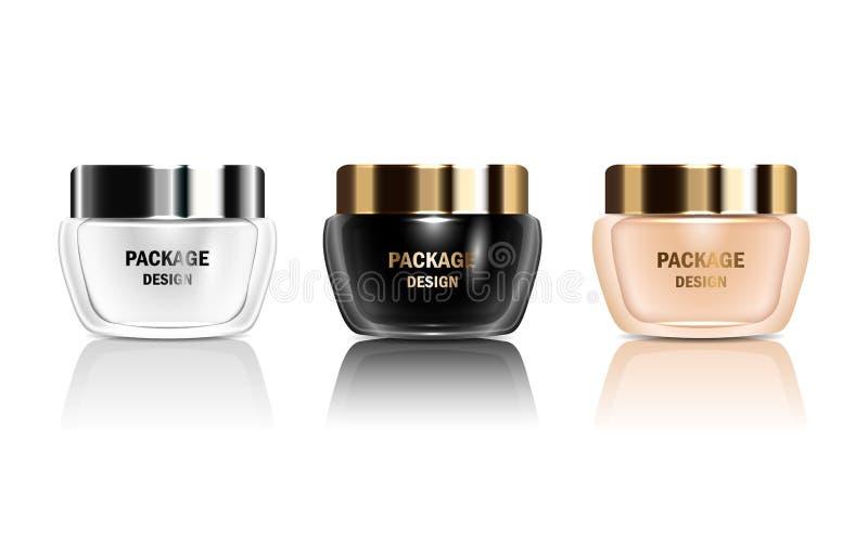 De vector 3d reeks isoleerde containers van de model de glanzende realistische kruik voor verpakkingsroom, shampoo, schoonheidsmi vector illustratie