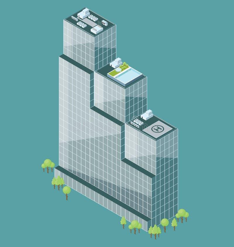 De vector 3d Vlakke Isometrische Bureaubouw vector illustratie