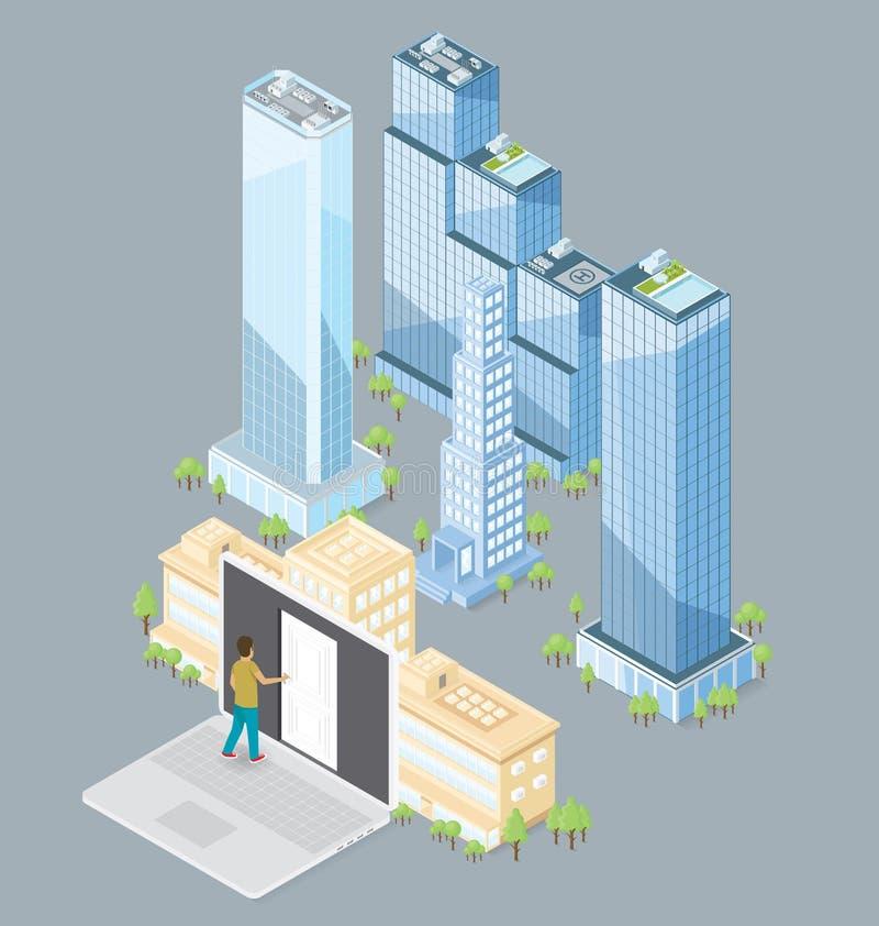De vector 3d Vlakke Isometrische Bureaubouw royalty-vrije illustratie
