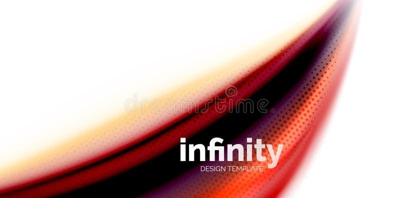 De vector 3d vloeibare achtergrond van de kleurengolf, stromende abstracte vorm met gestippelde textuur, vloeistof gemengde kleur vector illustratie